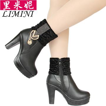秋冬季新款真皮靴子女短靴高跟女鞋牛皮棉靴特价清仓女式