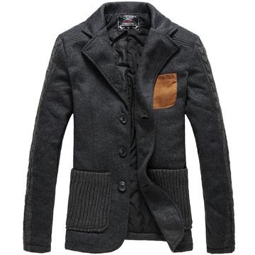 尤米秋冬装新款保暖棉服男士短款便服毛线拼接棉衣外套