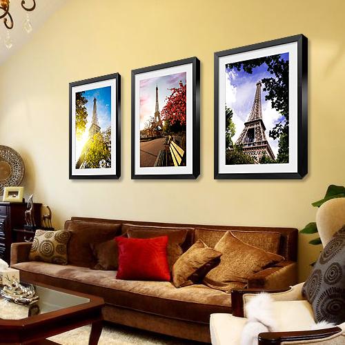原来美艾菲尔铁塔装饰画欧式风景挂画客厅三联建筑